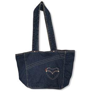 Levi's Denim Heart Tote Bag Blue Boho